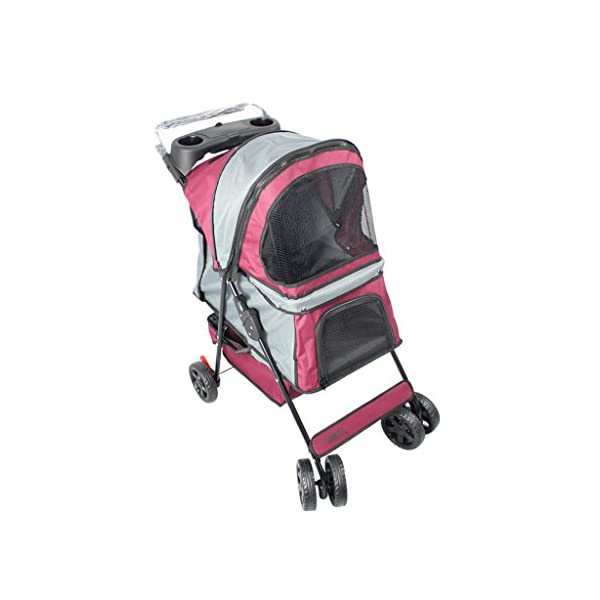 YD Pet Travel Carrier Pet Trolley Multifunctional Folding Four-wheeled Pet Stroller Cat Teddy Large Dog Cart Pet Scooter… Click on image for further info.