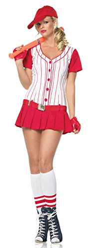 [83342 (X-Small) Sexy Baseball Player Red Costume By Leg Avenue] (Baseball Player Costumes Women)