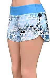 UN92 Women's Hive Camo Fit Shorts, Blue-2