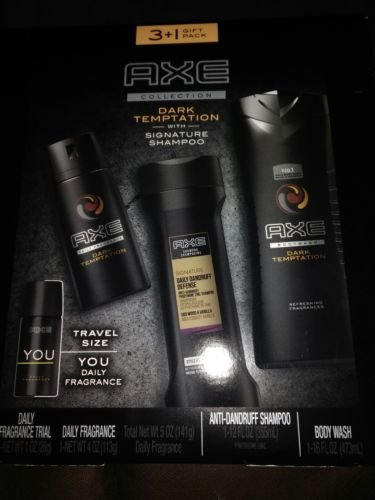 3+1 Gift Pack AXE Collection Dark Temptation, Body Spray, Body Wash with Signature Shampoo