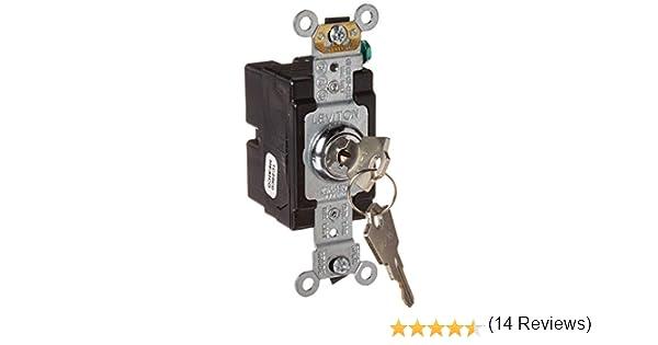 Leviton 1221-2KL 20 Amp Chrome AC Quiet Switch Extra Heavy Duty Spec Grade 120//277 Volt Single-Pole Self Grounding Key Locking