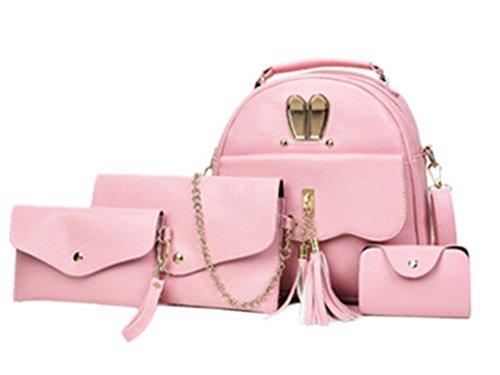 Sentao 4 pcs Multifunción Mochila Moda PU Cuero Mochila Escolar Bolsa De Hombro Mochila Viaje Mochila Bolsa Pink