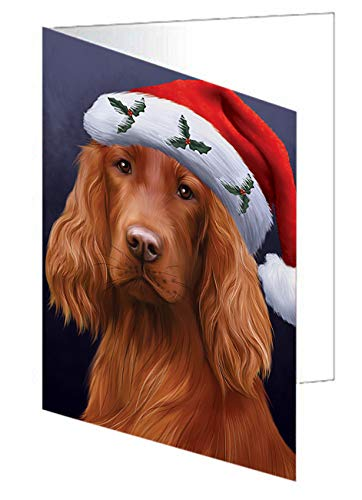 Christmas Holidays Irish Setter Dog Wearing Santa Hat Portrait Head Greeting Card GCD64526 (20)