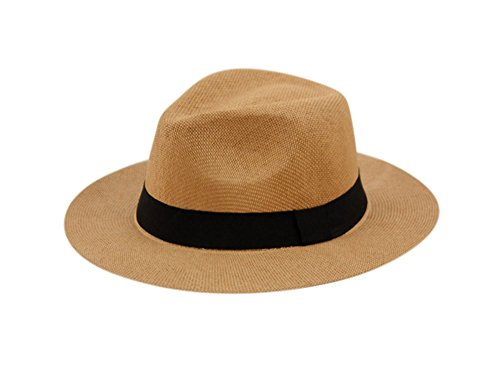 Wide Brim Paper Straw Fedora, Classic C Crown Panama Sun Hat with Grosgrain Band and Adjustable Drawstring (One Size Fits Most) (Brown) -