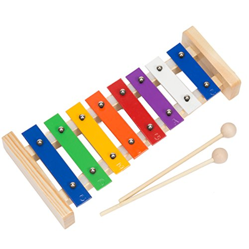 Upado Unlimited Glockenspiel Xylophone, Precision Tuned Handcrafted Musical Instrument Includes 2 Wooden Mallets and 12 Page Educational Music Pattern Song Book -