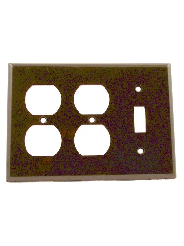 Leviton 85047 3-Gang 1-Toggle 2-Duplex Device Combination Wallplate, Standard Size, Thermoset, Device Mount, ()