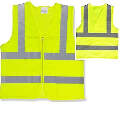 High Visibilty Mesh Pockets Neon Green Safety Vest Reflective Strips Ansi Xlarge -  JDM Auto Lights, JDM-ACC-HVMSV
