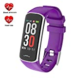 Fitness Tracker, Activity Tracker Watch with Heart Rate Monitor, Smart Watch with Message Reminder and Step Counter, Smart Bracelet with Blood Pressure and Sleep Monitor, IP67 Waterproof (B2-Purple)