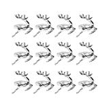 Fitlyiee Unique Napkin Rings Stainless Steel Deer Shape Napkin Buckle for Wedding Banquet Dinner Decor Silver (12 Pack)