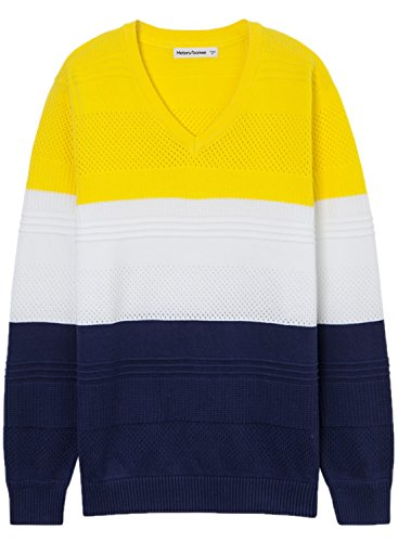 meters-bonwe-mens-v-neck-long-sleeve-color-block-pullover-sweater-yellow-xl