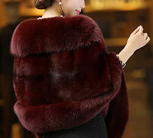 Casuales Chaqueta Vintage Corto Chal Mujeres Piel Mujer Poncho Suave Winered Abrigos Espesar De Cómodo Caliente Invierno Battercake Sintética wOv8O