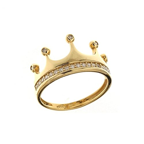 781c8cd94e760b Anello Corona In Oro 18 Kt Con Zirconi Bianchi, Oro giallo, 7: Amazon.it:  Gioielli