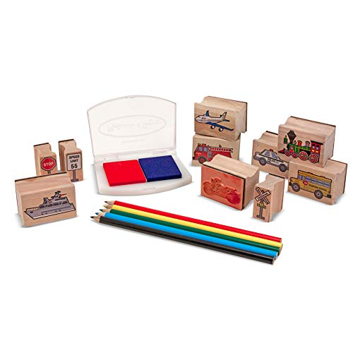 Melissa & Doug Vehicles Wooden Stamp Set (10 Stamps, Stamp Pad, Colored Pencils, Great Gift for Girls and Boys - Best for 4, 5, 6, and 7 Year Olds)