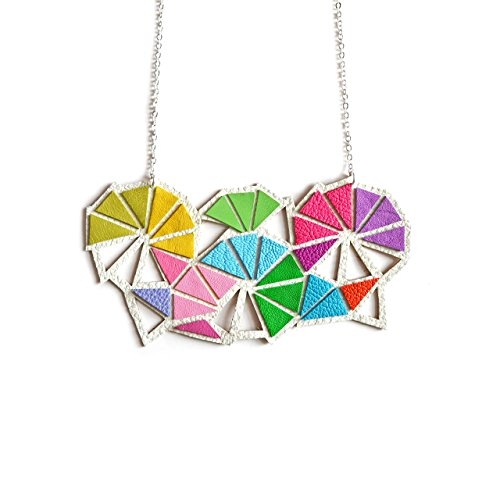 Rainbow Triangle Kaleidoscope Leather Necklace (Leather Kaleidoscope Womens)