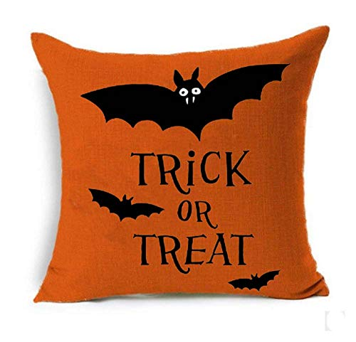 SLS Happy Halloween Boo Trick Or Treat Cotton Linen Decorative Throw Pillow Case Cushion Cover Linen Pillow case 18X18 (4) (Cushions Halloween)