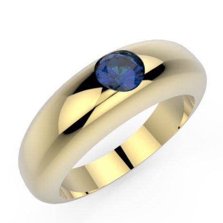 CLARISS Bagues Or Jaune 18 carats Saphir Bleu 0,6 Rond