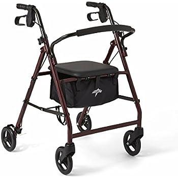 """Medline Steel Foldable Adult Transport Rollator Mobility Walker with 6"""" Wheels, Burgundy"""