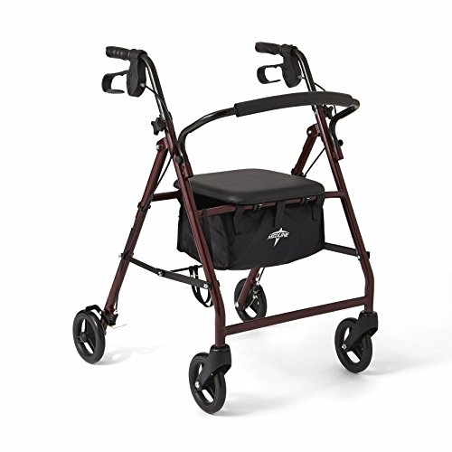 Medline Foldable Rollator Mobility Burgundy
