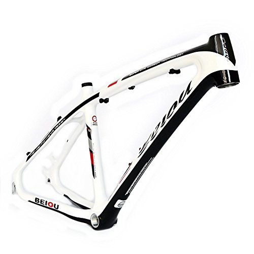 BEIOU 3K Carbon Fiber Mountain Bike Frame 26-Inch Glossy White Black Unibody External Cable Routing T700 Ultralight MTB B083A17X ()