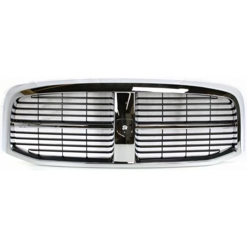 Make Auto Parts Manufacturing - New Chrome Shell with Black Insert Grille, Horizontal Bar, Plastic For Dodge Ram 1500 2006-2009, Dodge Ram 2500 2006-2009, Dodge Ram 3500 2006-2009 - CH1200282 (Ram Dodge Inserts Grille)