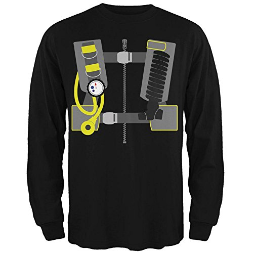 Scuba Costume Halloween (Halloween - Scuba Diver Costume Mens Long Sleeve T Shirt Black MD)