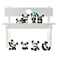 Unigift Set of 8 Cute Panda Toy Decoration - Cake Decoration - Bedroom Decoration