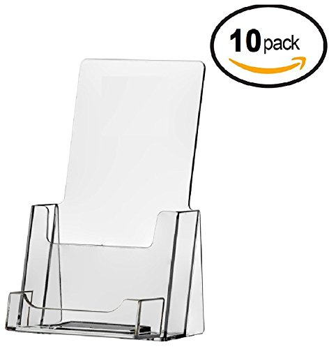10 Pack of Clear Acrylic Brochure Holders with Business Card Holder