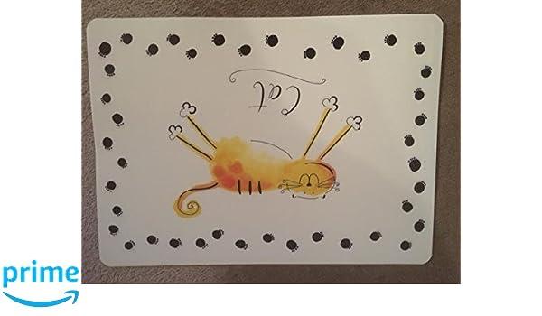 Diseño de huellas de gato con diseño de gato manteles individuales por Koko: Amazon.es: Productos para mascotas