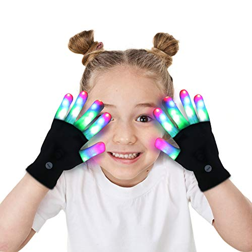 Best Clever Halloween Costumes 2019 (Aubllo Led Gloves Light Up Rave Glow Gloves 3 Colors 6 Modes Flashing Halloween Costume Birthday EDM Party Christ-mas Light Up Toys For Kids Size 7'' Age for 4 5)