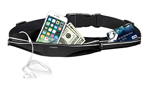 MoKo Running Belt Waist Pack Water Resistant Runner Sports Fanny Pack, 2 Pockets Waist Bag Fitness Workout Belt for Hiking, Jogging, Travel, Fit iPhone x/8 Plus/8/7/6S Plus, Galaxy Note 8/S9+/Black
