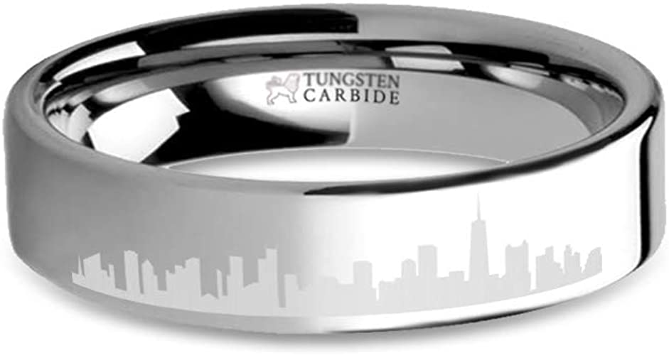 Chicago City Skyline Cityscape Laser Engraved Tungsten Ring 6 Mm
