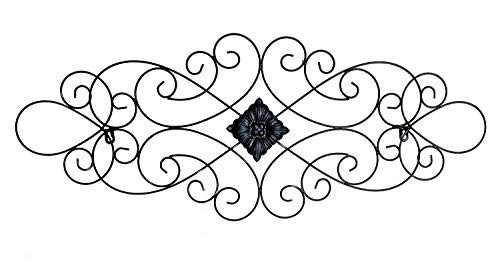 Bellaa 23226 Scrolled Metal Wall Art Medallion Plaque Oblong Living Room Home Decoration (Medallion Decor Metal Wall)