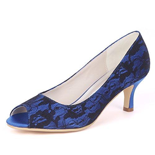 Da Sposa Con Basso Slip 6cms Moojm Toe Bocca Sposa Pesce Pizzo Maglia Tacco Scarpe Blue On pCwHH5Eq