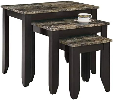 Pemberly Row 3 Piece Faux Marble Top Nesting Table Set in Cappuccino