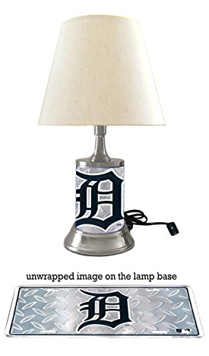 (JS Tigers Table Lamp with Shade, Your Favorite Team Plate Rolled in on The lamp Base, Diamond Metal Plate Wraps The lamp Base, Detroit T)