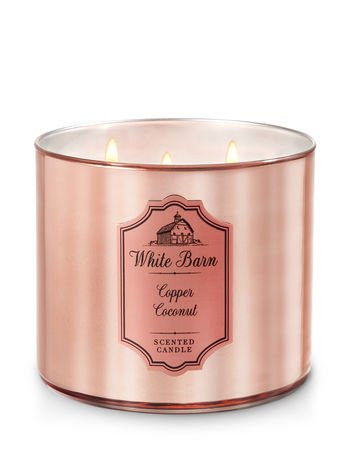 Bath and Body Works White Barn 3 Wick Scented Candle Copper Coconut with Essential Oils and Marble Lid 14.5 Ounce
