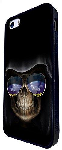 356 - Ghost Sugar Skulls Sunglasses Design iphone SE - 2016 Coque Fashion Trend Case Coque Protection Cover plastique et métal - Noir