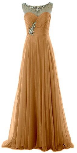 MACloth Women Crystal Chiffon Long Prom Dress Wedding Party Formal Evening Gown Gold