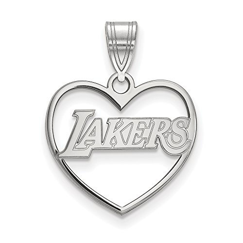 NBA Los Angeles Lakers Heart Pendant in Rhodium Plated Sterling Silver by LogoArt