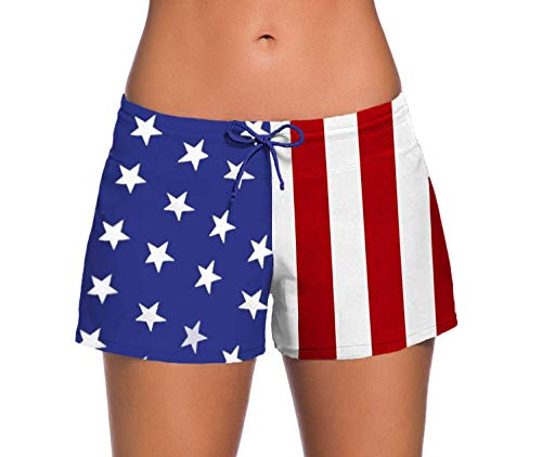 (Sythyee Women's Swim Boardshorts Tankini Boyshorts Beach Bottom Swimsuit Built in Briefs (M, American Flag))