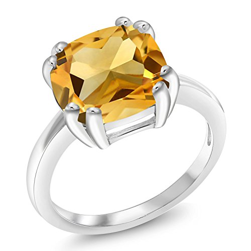 Gem Stone King Yellow Citrine 925 Sterling Silver Women's Ring 3.22 Ct Cushion Cut Gemstone Birthstone Available in size 5, 6, 7, 8, ()