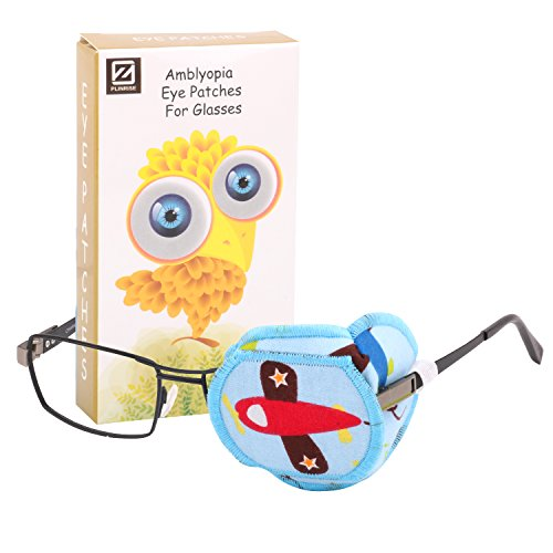 Plinrise Cartoon Pure Cotton Reusable Eye Patches - Amblyopia Eye Patches For Glasses, Strabismus, Lazy Eye Patch For Children,Vision Care Eye Mask - Airplane Left eye from Plinrise
