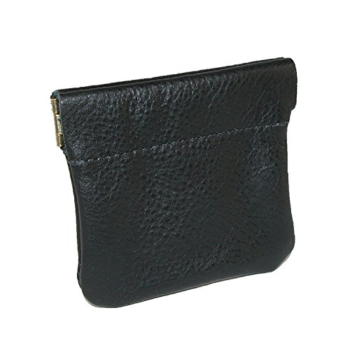 [CTM Leather Squeeze Coin Pouch (One Size, Black)] (Leather Squeeze Pouch)