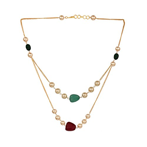 Efulgenz Layered Pearl Necklace Indian 14 K Gold Plated Faux Ruby Emerald Beads Strand Fashion Costume Jewelry