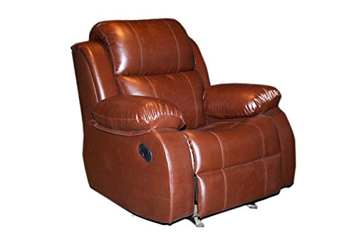 Innovate Recliner  amp; Sofa Recliners India Style 205 Wood and Leatherette Rocking  amp; Rotating Recliner Chair  Brown