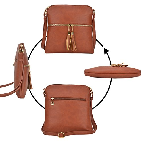Small Travel Bag Medium Tassel Crossbody Dasein Shoulder Lightweight Vegan Purse Tan with Leather Bag n8FAzxtqwx