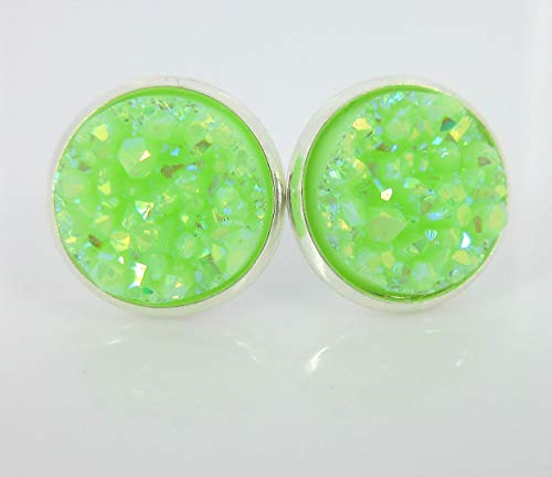Silver-tone Lime Green AB Faux Druzy Stone Stud Earrings 12mm ()
