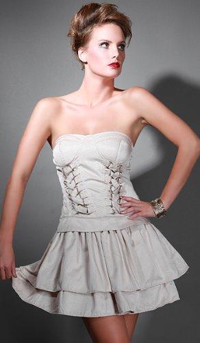 DEBUE Corset Detail Ruffle Bustier Dress Beige