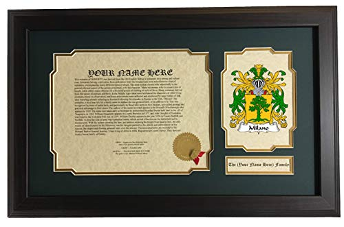 Milano Coat - Milano - Coat of Arms and Last Name History, 14x22 Inches Matted and Framed