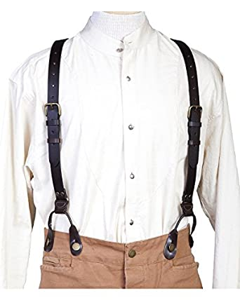 Victorian Men's Clothing, Fashion – 1840 to 1890s Scully 540765 Leather Suspenders $41.08 AT vintagedancer.com